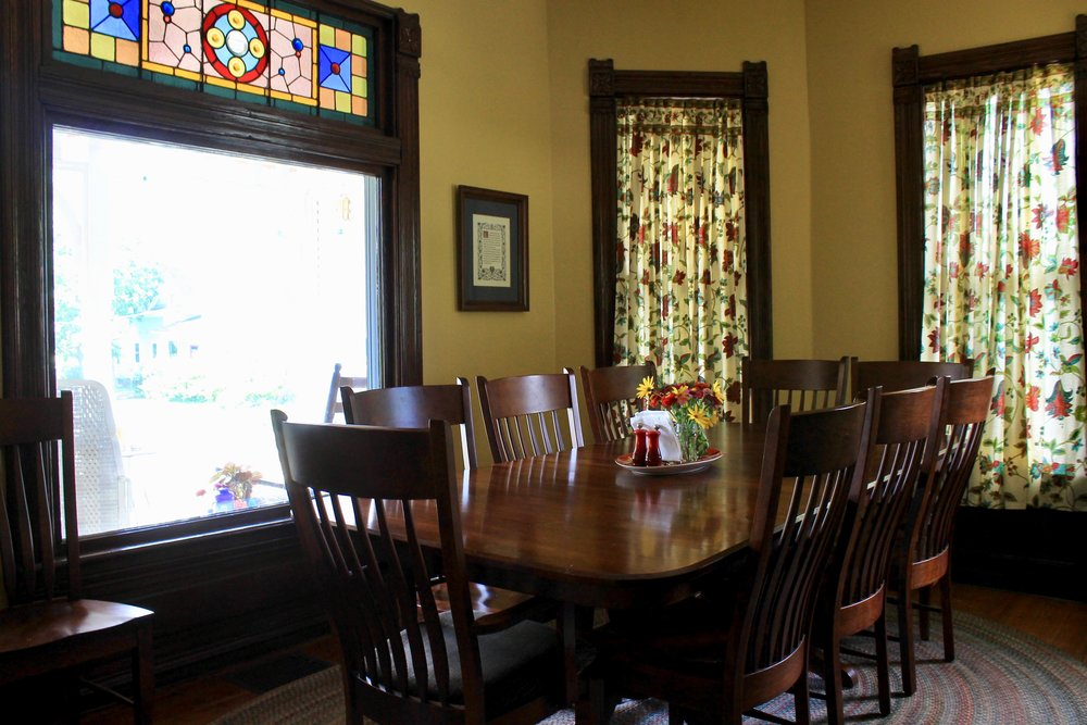 Dining Room with stain glass inlays