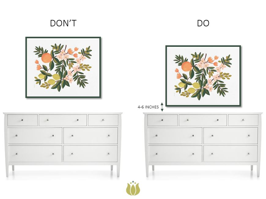 ART:  POTTERY BARN  / DRESSER:  CRATE AND BARREL