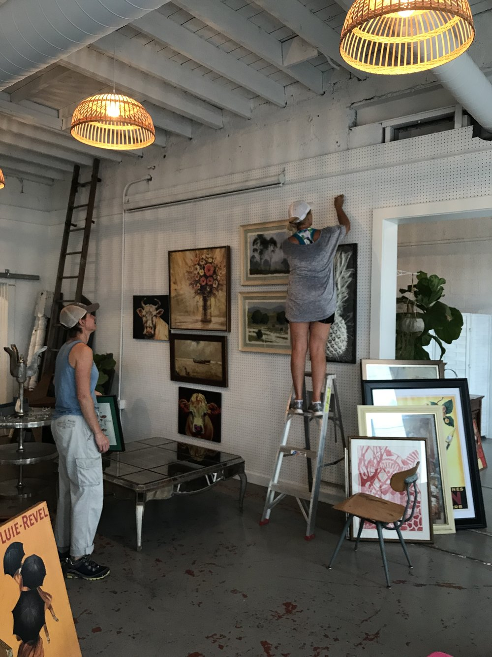 We have so much art this year that we covered the wall and ran out of room! Vintage, modern, original paintings- modern and traditional, lithographs, knoxville prints etc