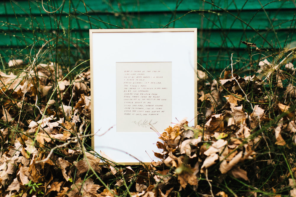 """A beloved hand lettered copy of the lyrics to """"Home at last"""" by Josh Garrels- artistry by  Old City Mailroom . Katie had this made for Andy for their first anniversary."""