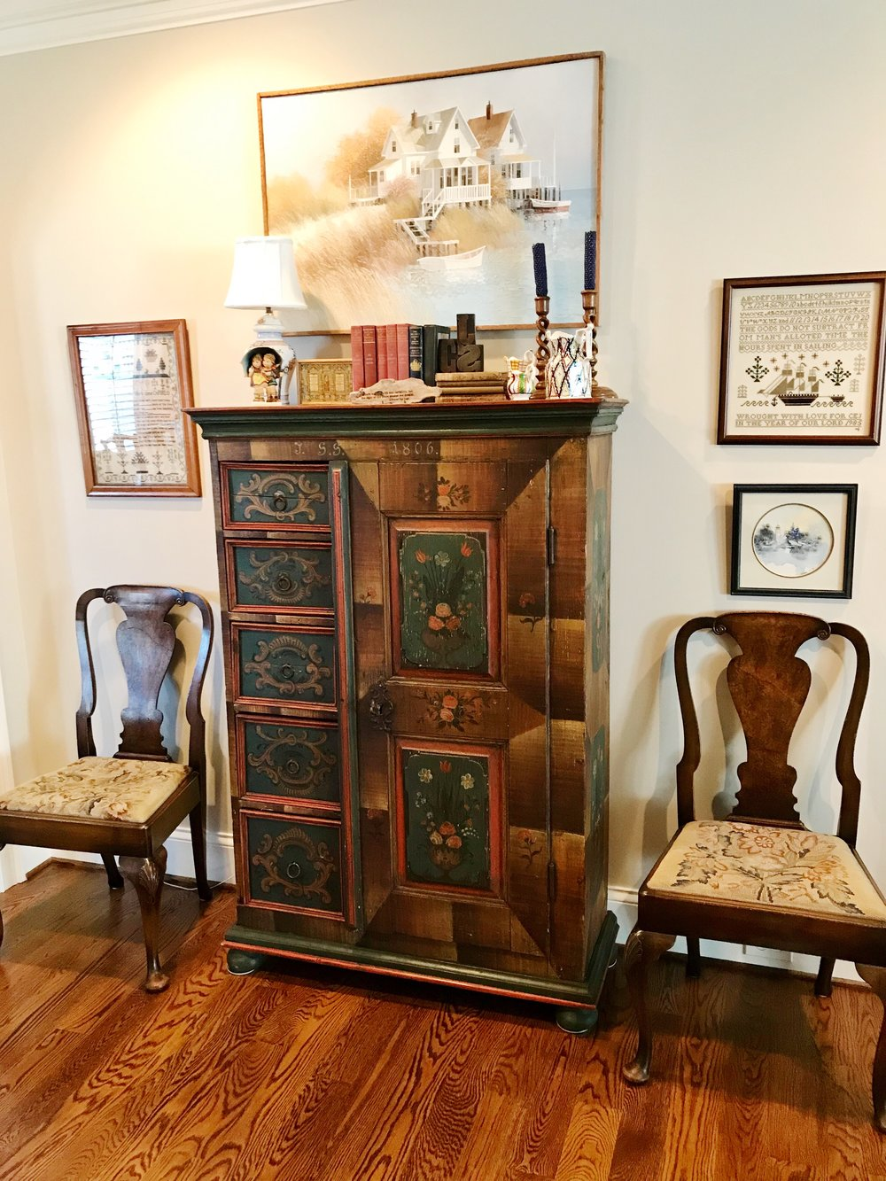 Antique samplers and another beautiful German folk art cupboard circa 1806