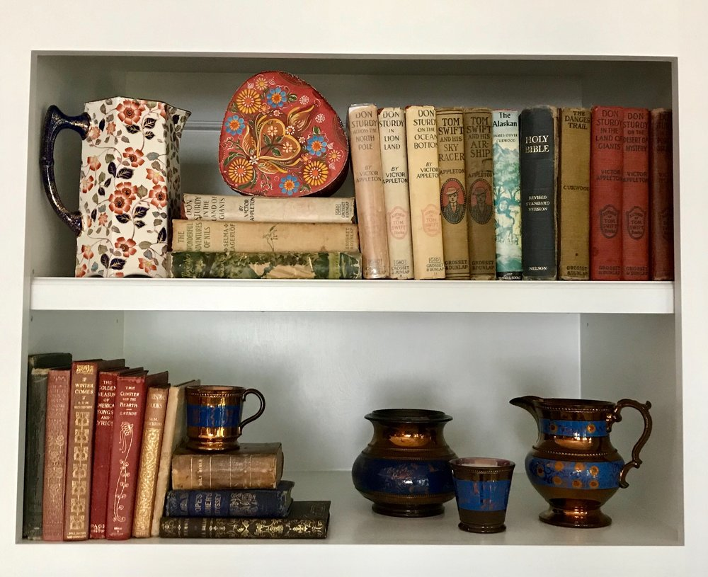 Copper Luster from England and treasured books