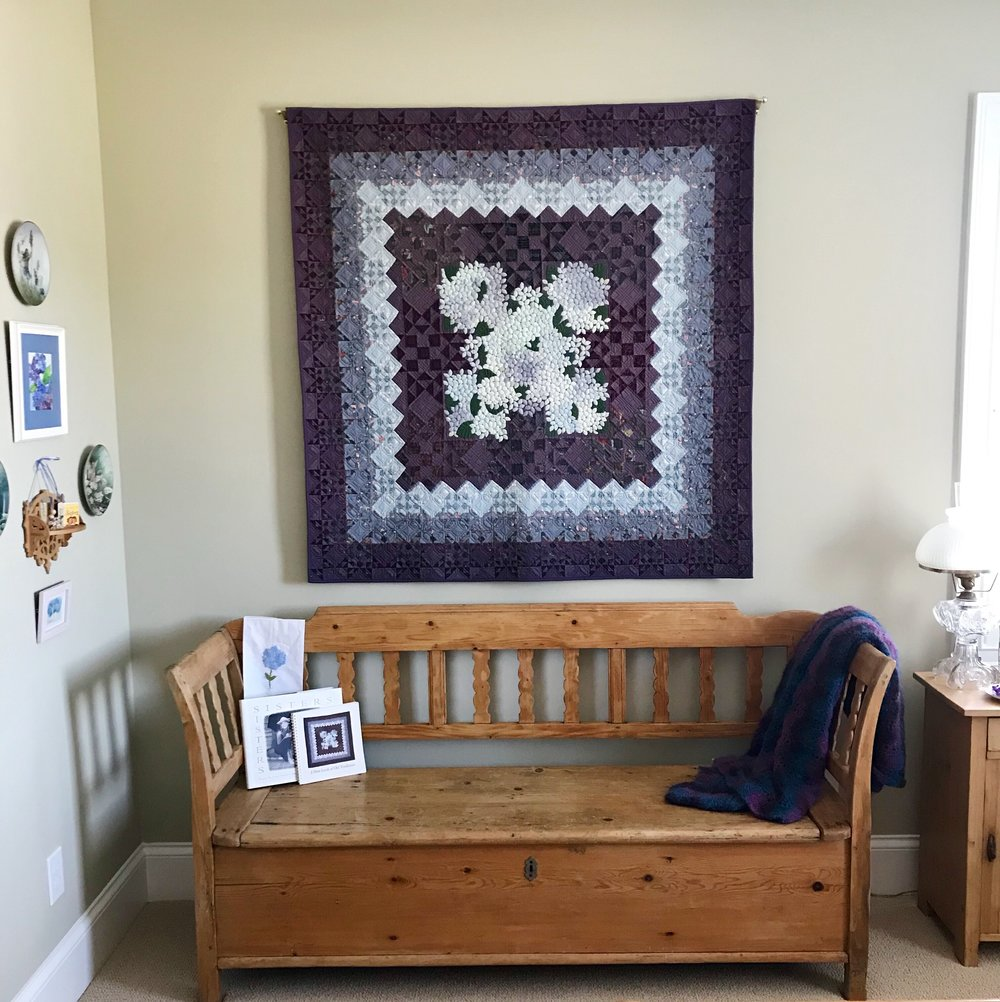 Hydrangea quilt made by a dear friend of Susies. Jenny Harris is a British quilter who won prizes for her creation.