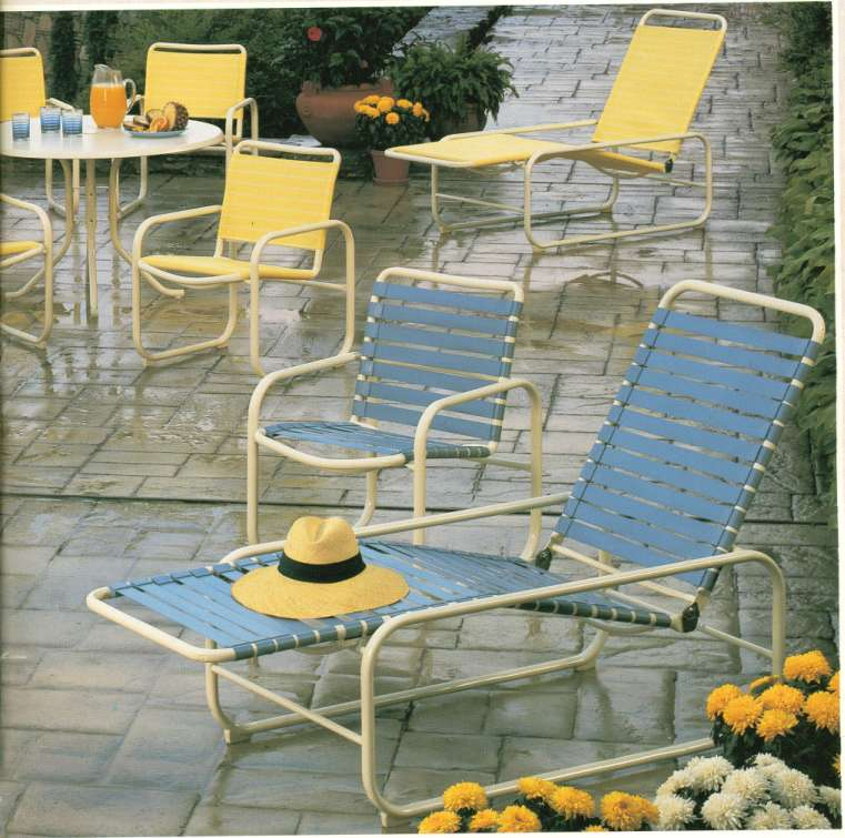 Open Air 5357 Sling Chair & 5317  Sling Chaise in BACKGROUND.  Same Dining & Chaise Versions  IN STRAP in FOREGROUND.  Straps (Original Straps with Clip)  ARE NO LONGER AVAILABLE.  YOU MAY REPLACE STRAP UNITS WITH OPEN-AIR SLINGS !