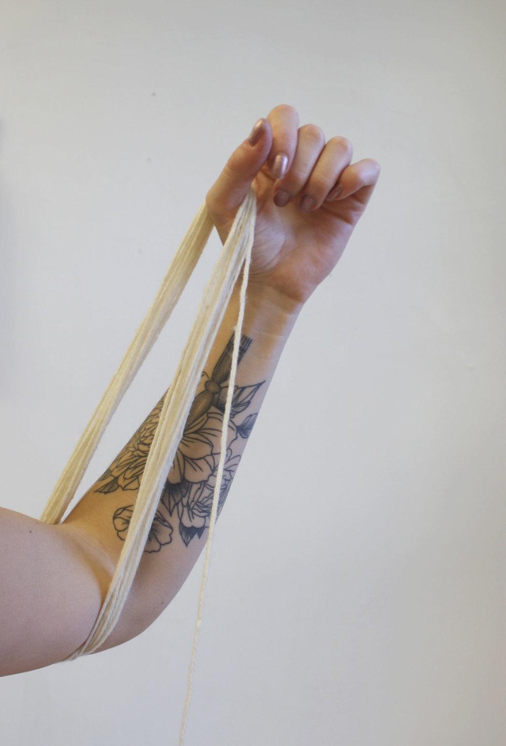 yarn arm wrap technique