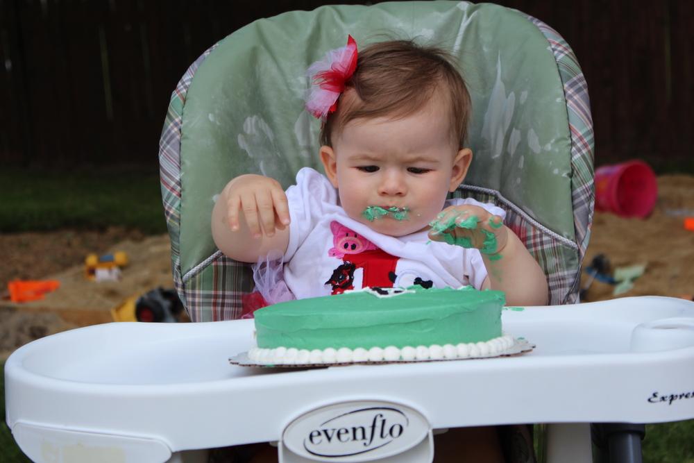 Aubrey enjoying the smash cake!