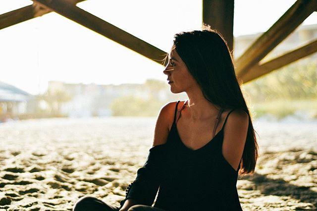 A beautiful girl, a beautiful sunset.