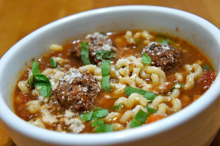 Spaghetti & Stuffed Meatball Soup