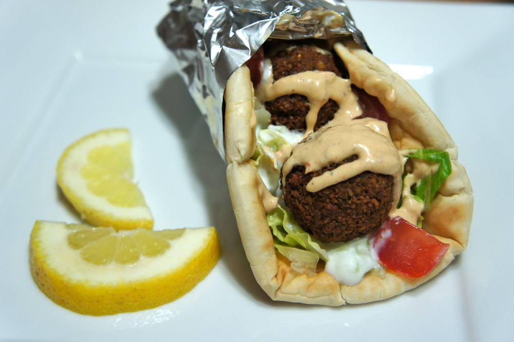 Falafel Sandwich with Tzatziki and Harissa Sauce