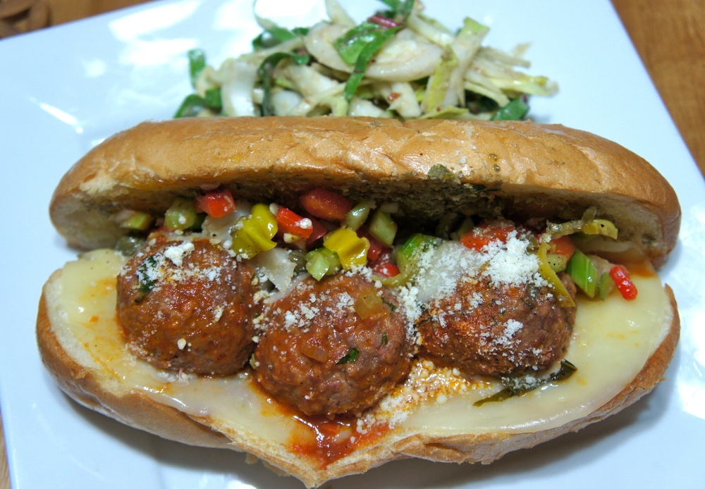 Muffuletta Meatball Sandwich with Shaved Fennel Salad
