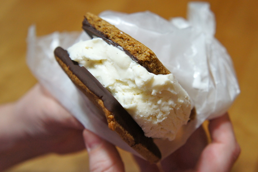 S'Mores Ice Cream Sandwich with Marshmallow Ice Cream