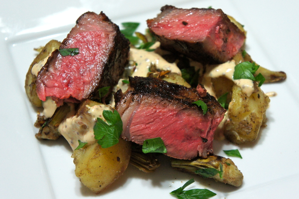 Aleppo Steak with Pan-Fried  Potatoes and Artichokes