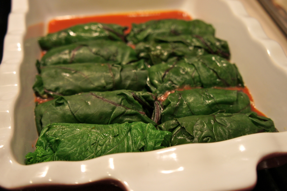 Stuffed Chard Enchiladas ready for some sauce and cheese