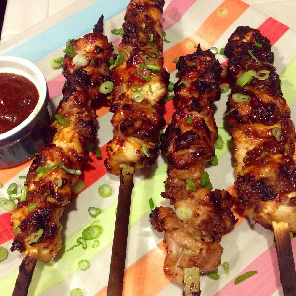 Sriracha Bacon Bourbon BBQ Chicken Skewers