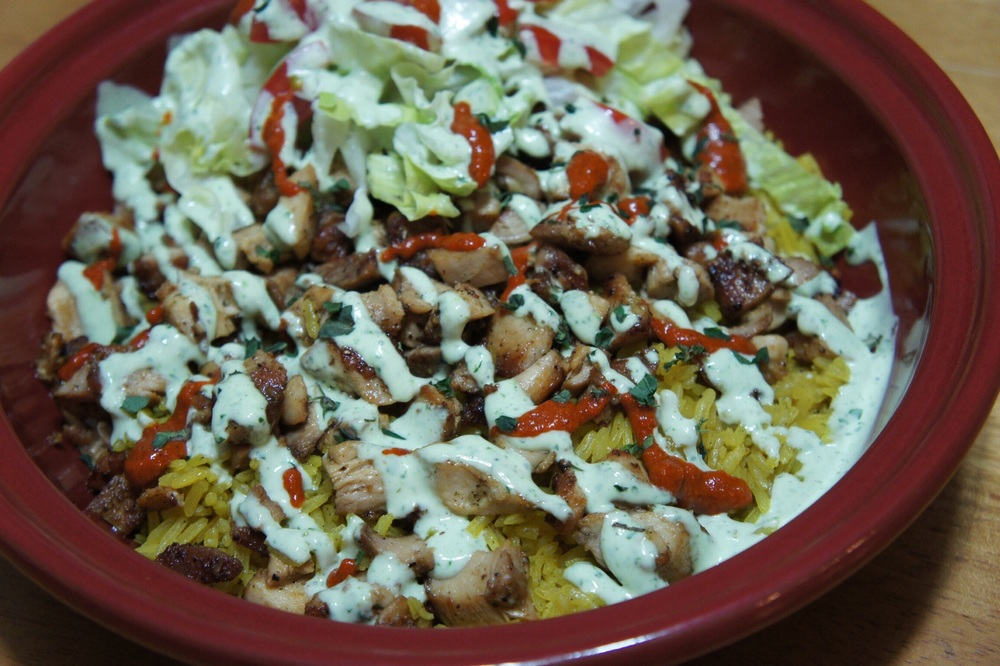 Halal Cart-Style Chicken and Rice Combo Plate with White Sauce and Harissa