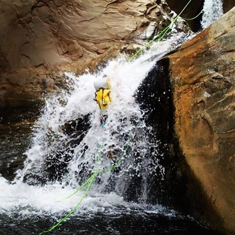 #Canyoneering #arizona #AZ a friend taking a face full of water to get over the lip during a nice cold run through the #canyon