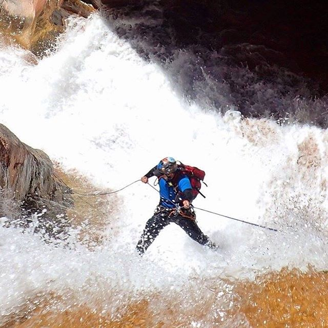 #cibecue #canyon #AZ #arizona this #waterfall put a huge #smile on all of our faces. It was a good #rappel in some great #flow