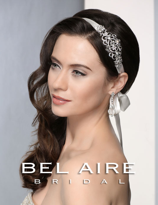 6362 Satin tie headband with rhinestones