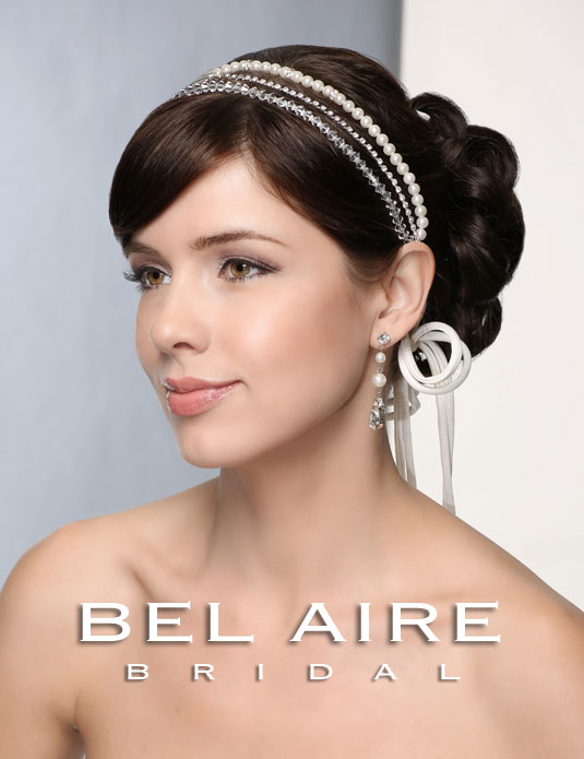 6382 Pearl and crystal tie headband