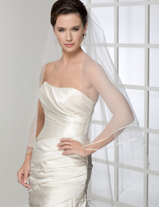 V7121 2-tier cascading ribbon edge veil