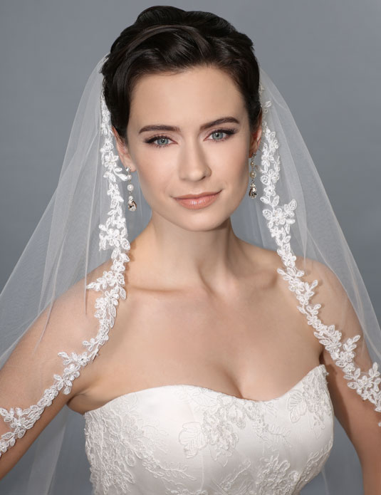 V7165 Beaded Alençon lace veil