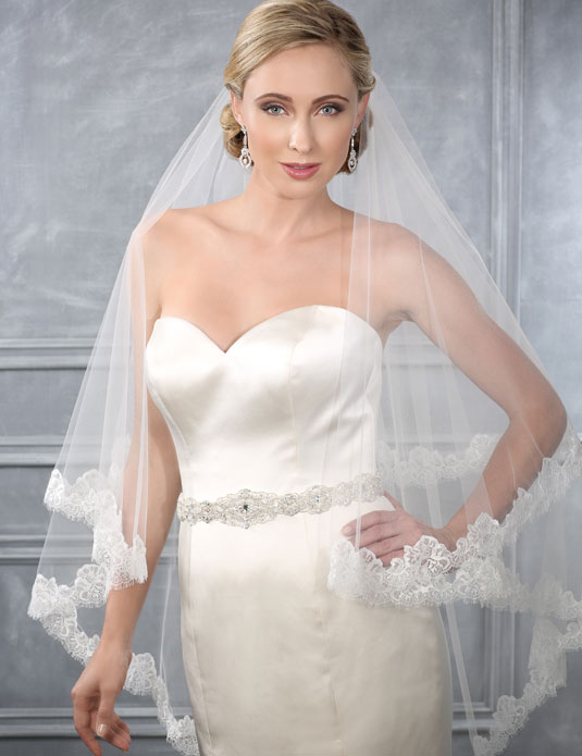 V7210   Chantilly lace waltz length veil