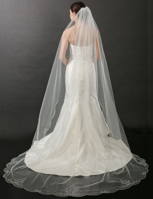 V7264C   Beaded edge cathedral veil