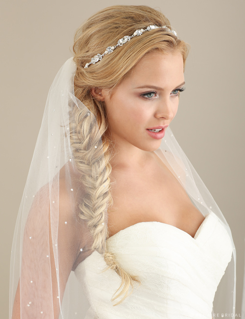 6610   Pearl and rhinestone tie headband