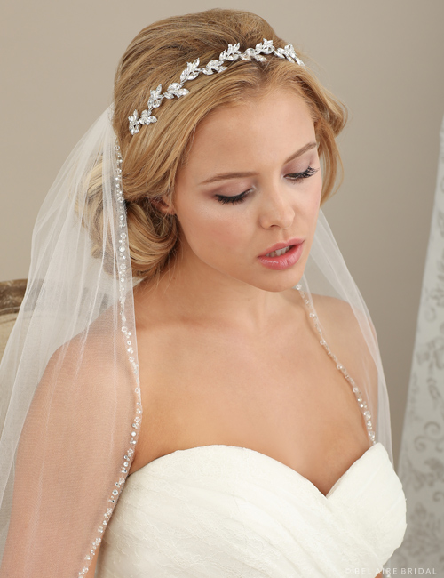 6614 Rhinestone headband with marquise leaves