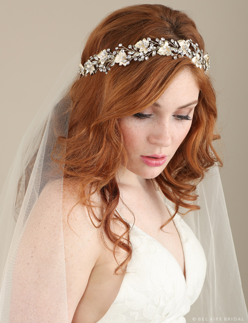 6634   Metal leaf and rhinestone spray headband
