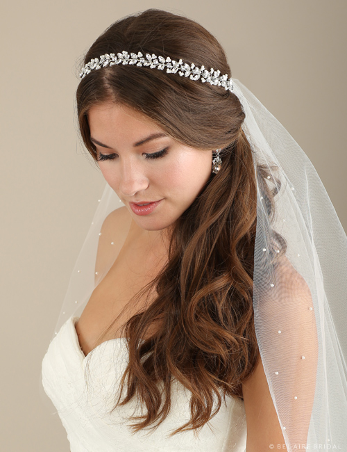 6640   Wired pearl tie headband