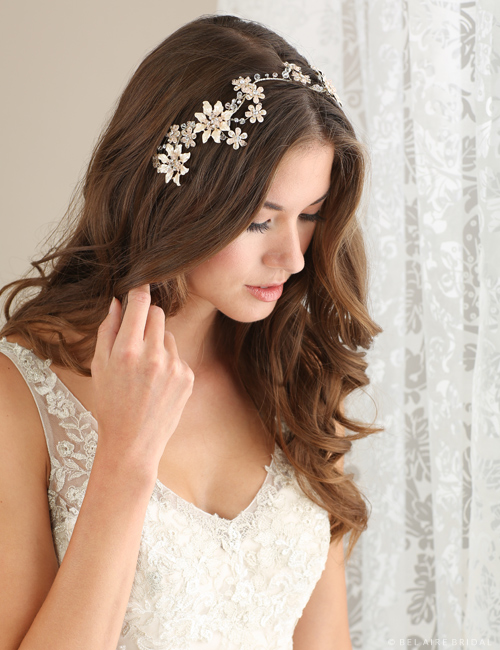 6645 Blush-painted flower tie headband