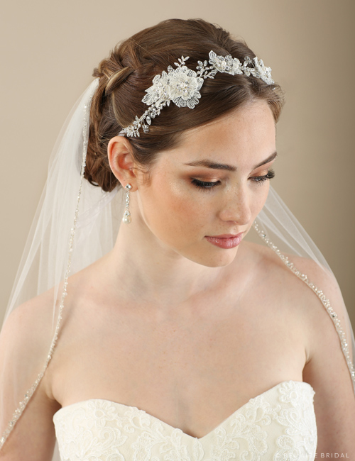 6649 Lace and leaf tie headband