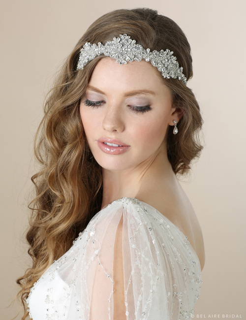 6552   Beaded and rhinestone tie headband