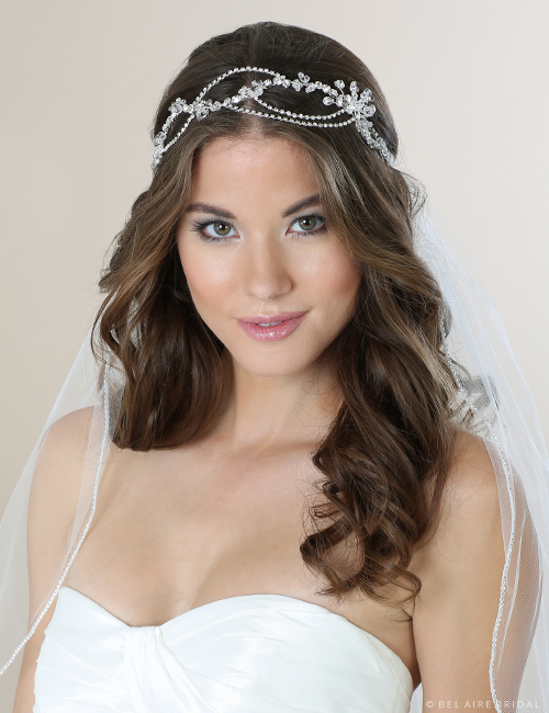 6556 Rhinestone and crystal tie headband