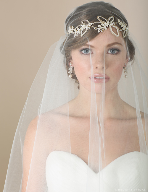 6558 Metallic and pearl tie headband
