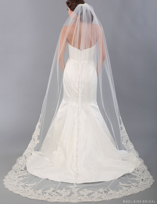 V7325C   Cathedral veil with metallic lace