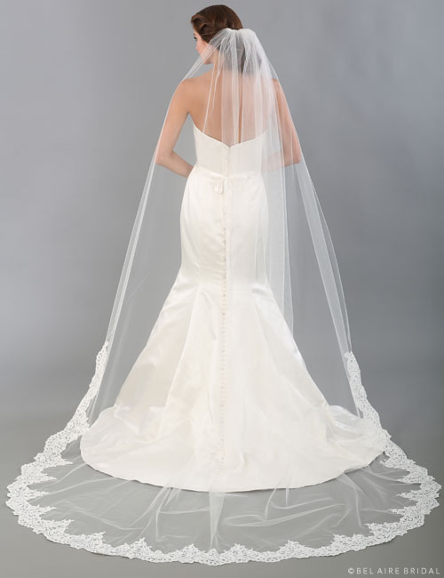 V7336C Unbeaded Alençon lace cathedral veil