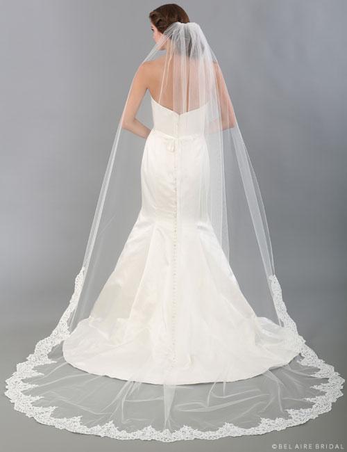 V7336C Unbeaded Alençon lace cathedral veil