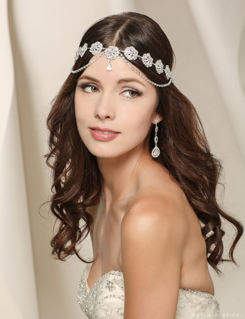 6520 Rhinestone halo with draped chains
