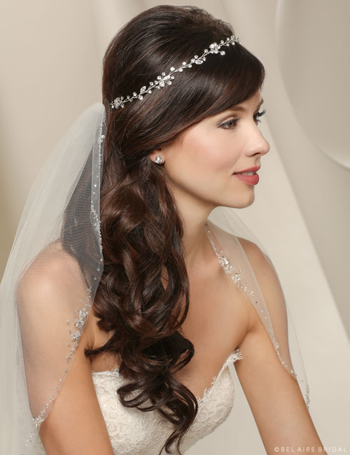 6524 Wired rhinestone garland with organza ties