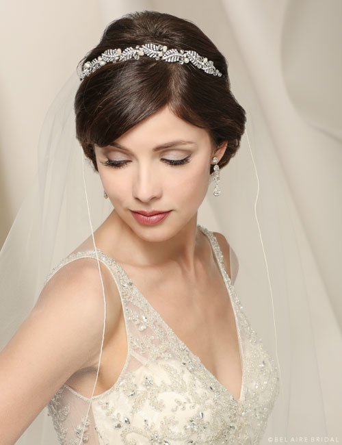 6539 Rhinestones and pearl headband