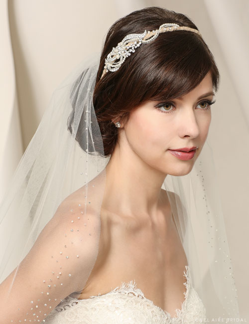 6547 Burlap headband with pearl side design