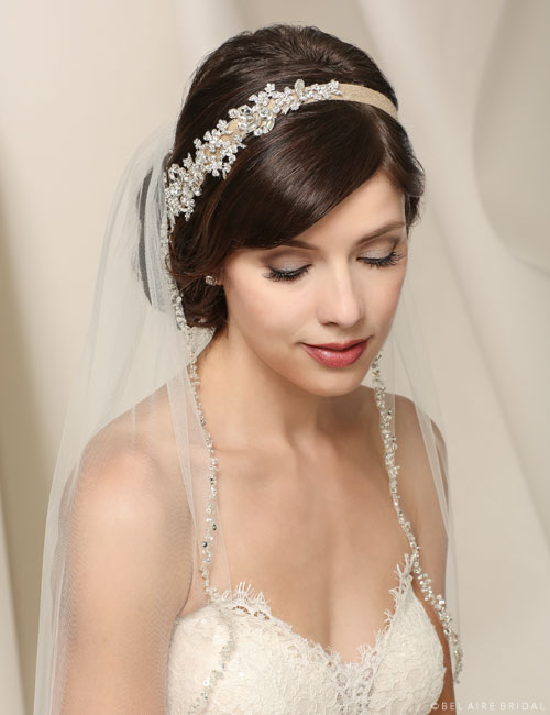 6548 Burlap headband with rhinestone design.