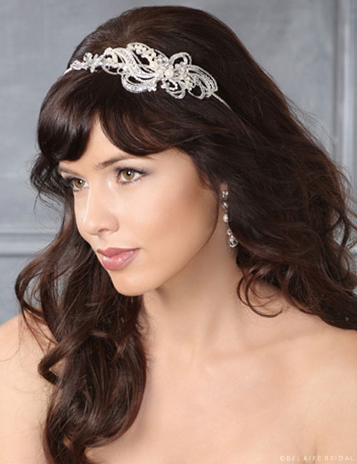 6431 Rhinestone and pearl swirl headband