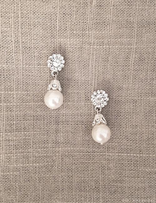 EA256 Rhinestone and pearl drop earrings