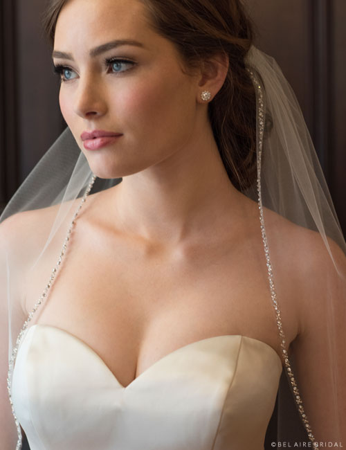 V7373 1-tier fingertip veil with sparkling edge of rhinestones