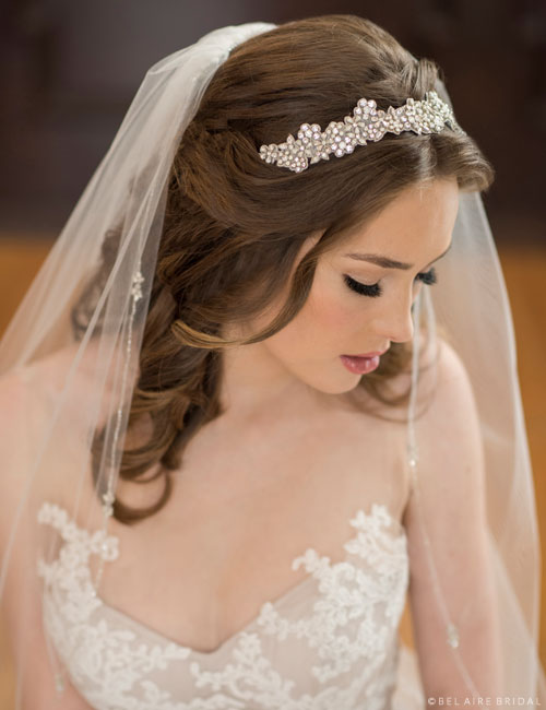 6675   Tie headband with opaque and clear rhinestones