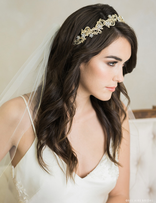 6713  Narrow metal lace design headband