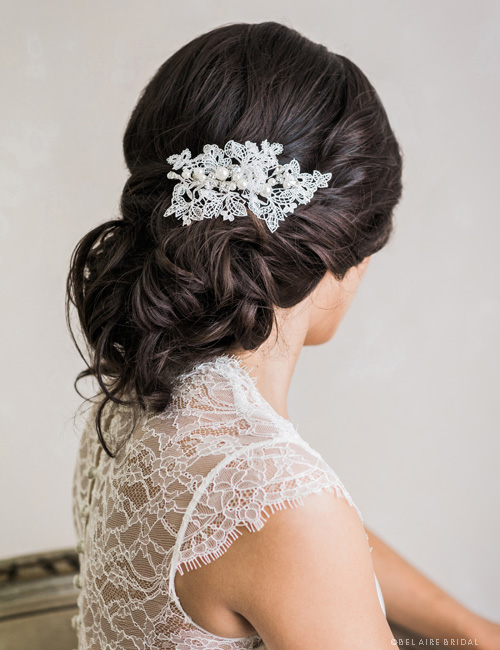6741    Delicate Venise lace clip with clusters of pearls